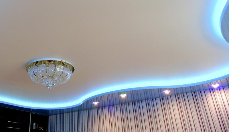 фото двухуровневые потолки с подсветкой